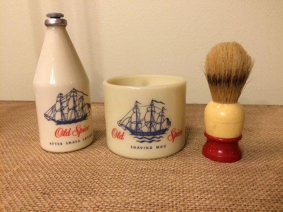 Vintage Old Spice Shaving Mug Brush And After Shave Bottle Shaving