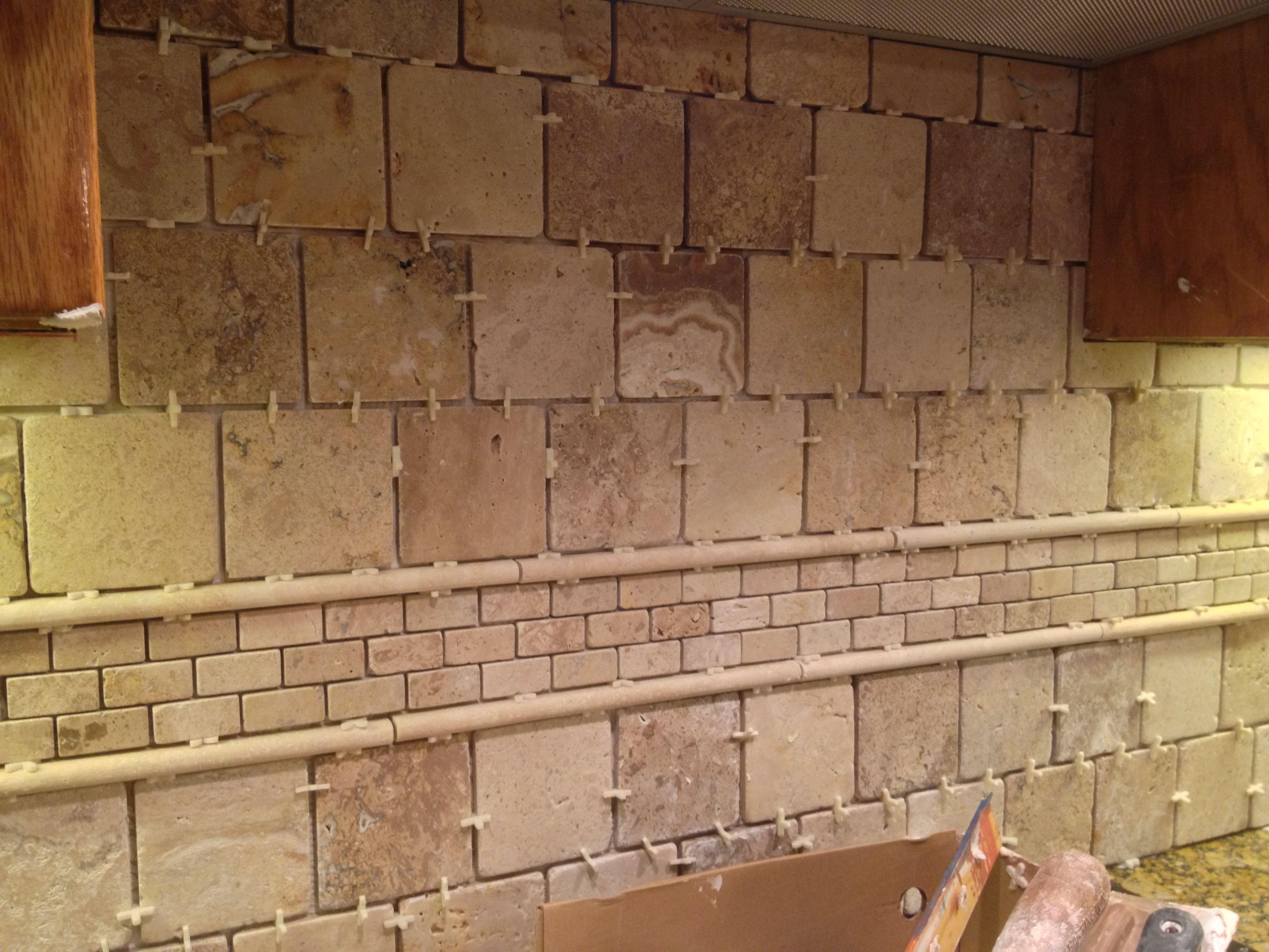 And the backsplash tile is set too we chose a for Tile backsplash without grout