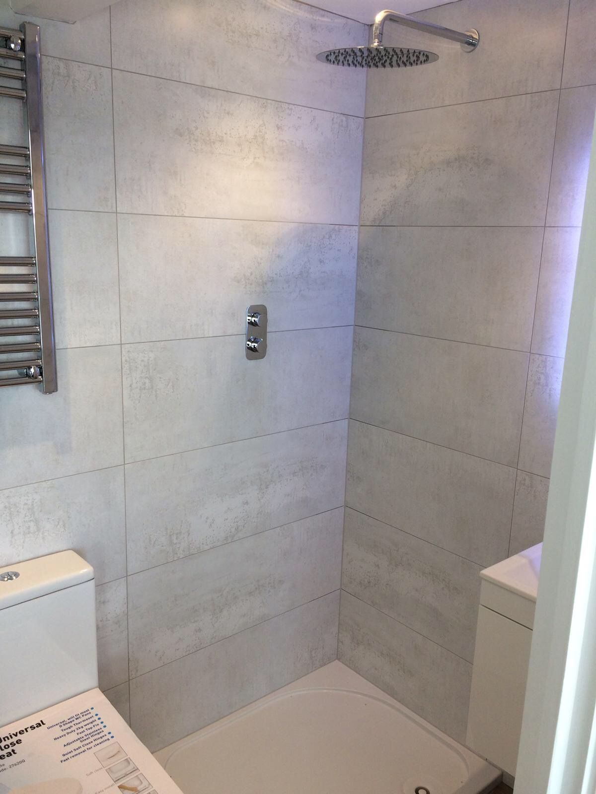 Beautiful Silver White Bathroom Shower Room Wall Large Format