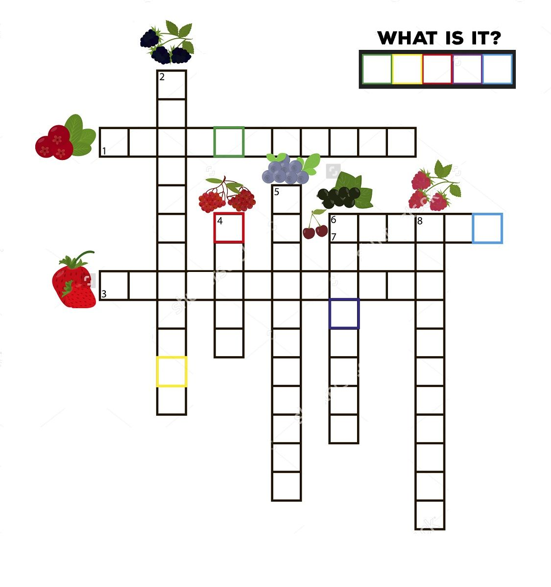 Fruit Crossword Puzzles For Children