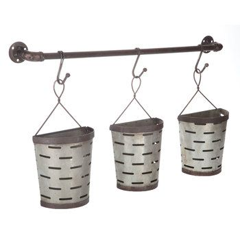 Slotted Half Round Metal Wall Buckets Galvanized Metal Wall Metal Wall Decor Metal Walls