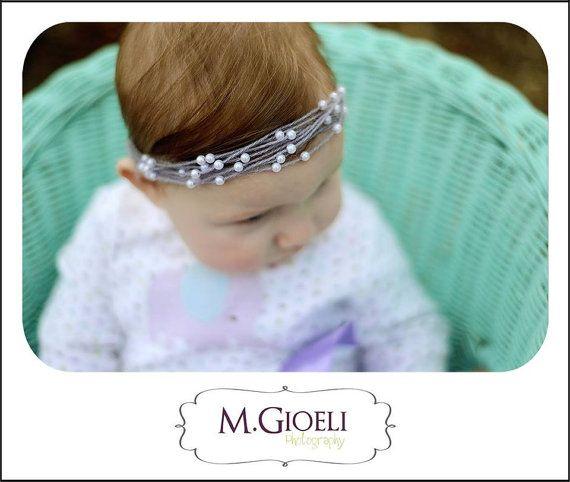 Mohair & Pearl Halo Tie Back- Newborn Photography Prop-headband-photo prop