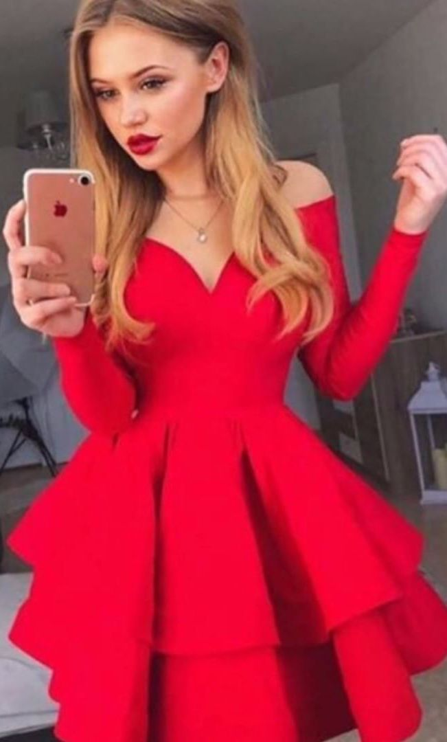 A Line Bateau Tiered Red Satin Homecoming Dress With Sleeves