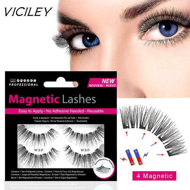 52c95a42823 VICILEY Magnetic eyelashes with 4 magnets handmade 3D/6D magnetic lashes  natural false eyelash magnet lash with gift box-WSP Review