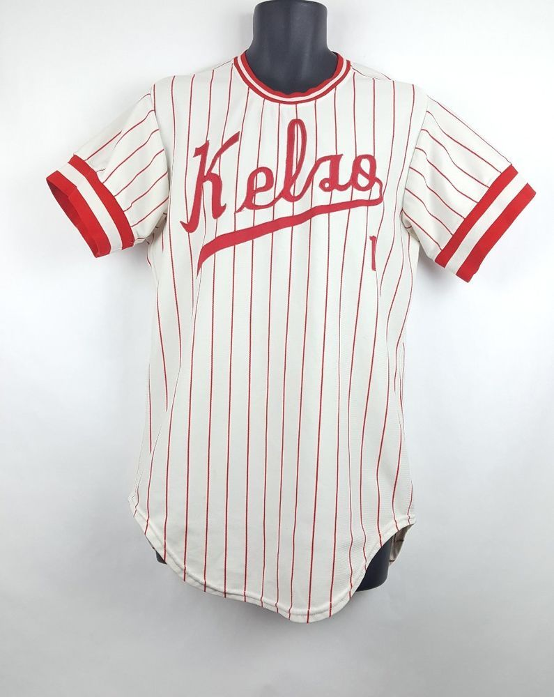 686c9441a Vintage Kelso Washington Baseball Jersey Striped Size 42 High School 80s  90s G6