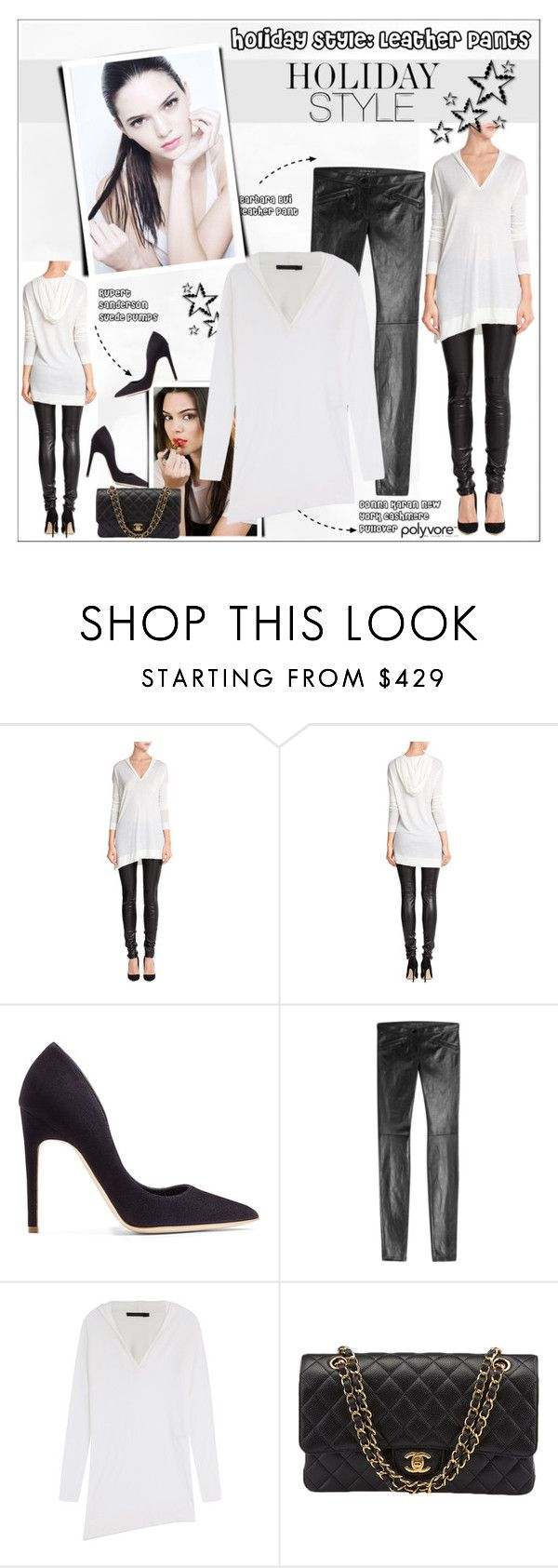 """""""Holiday Style: Leather Pants"""" by alves-nogueira ❤ liked on Polyvore featuring Donna Karan, Rupert Sanderson, Estée Lauder, Barbara Bui and Chanel"""