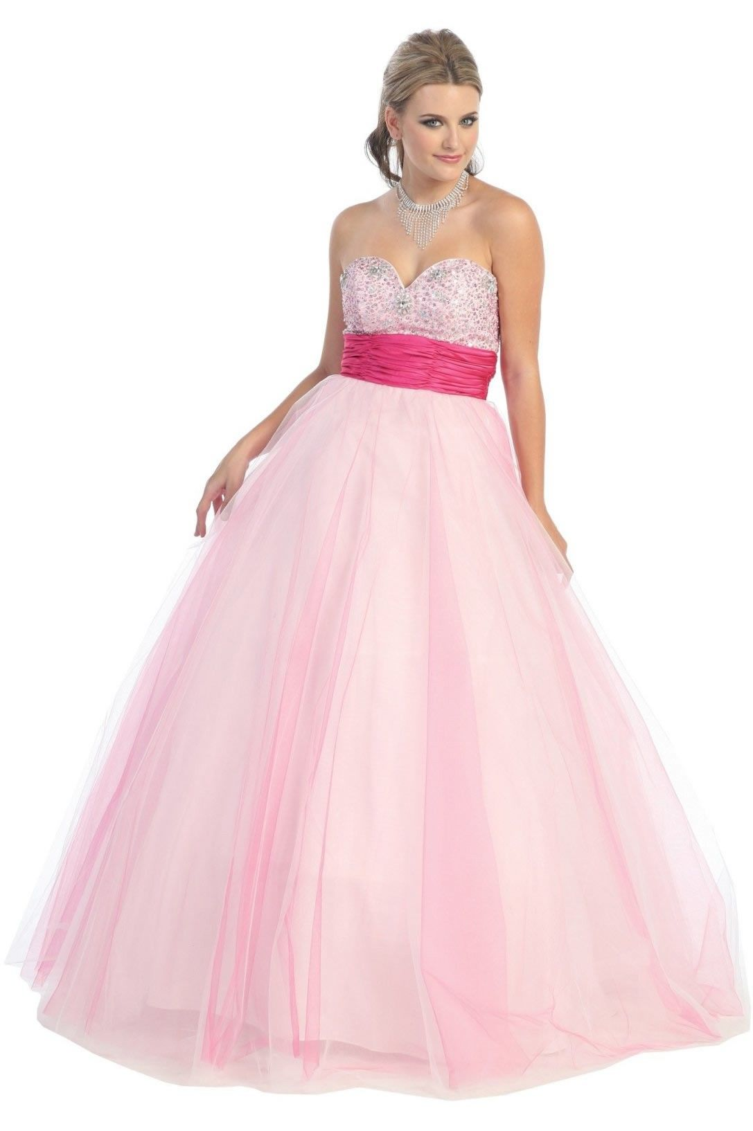 Long Pink Jeweled Pageant Ball Gown