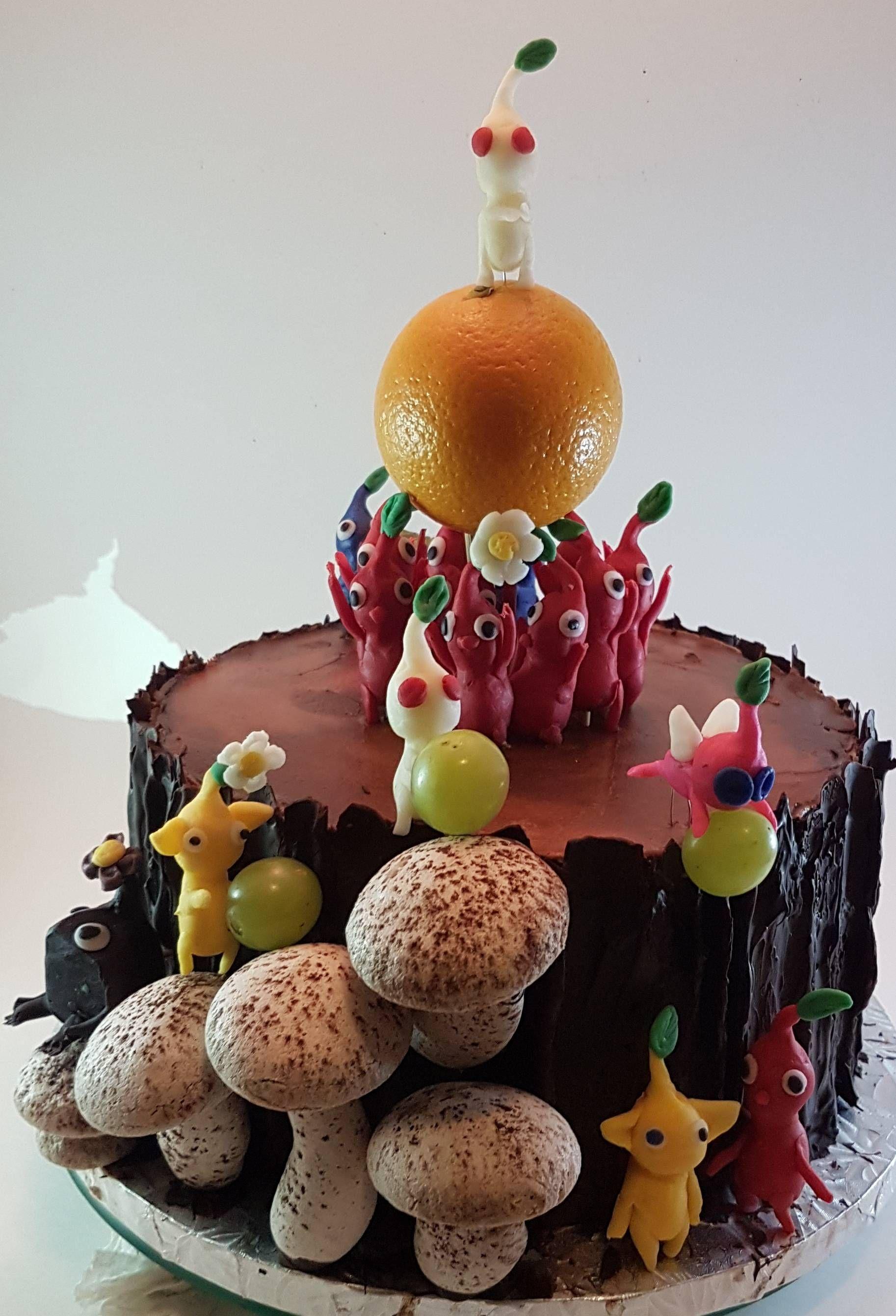 Homemade Dark Chocolate Cake With Swiss Meringue Buttercream Bark Mushrooms Candy Clay Characters Real Fruit Pikmin Themed Birthday