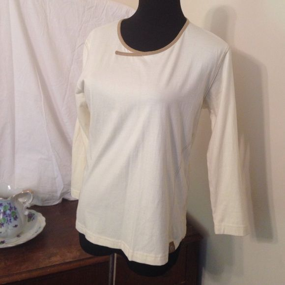 Cream colored active wear shirt, 3/4 sleeves NWOT Size says women's medium but fits more like juniors medium Lowe alpine Tops