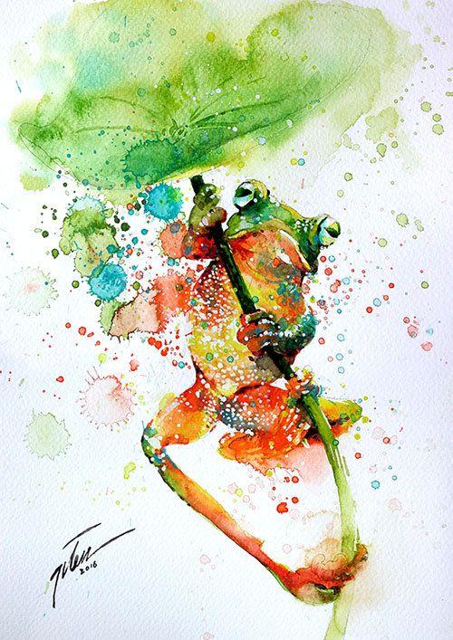 Tree Frog Watercolour Painting Art Print Watercolor
