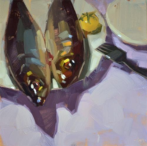 "Original Fine Art For Sale: ""Sardines And One Tomato"""