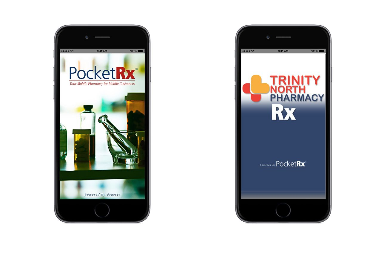 The PocketRx app from Praeses, a mobile pharmacy app for refilling prescriptions. The app has been sold as a product to independent pharmacies for download on App Store and Google Play.