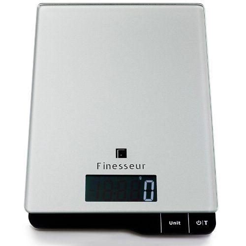 Finesseur Kitchen Scale - Digital Food Scale - High Precision Sensors - Slim Stylish Glass Design -