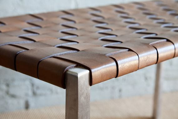 Woven Leather Steel Bench Steel Bench Mid Century Modern Bench Leather Bench