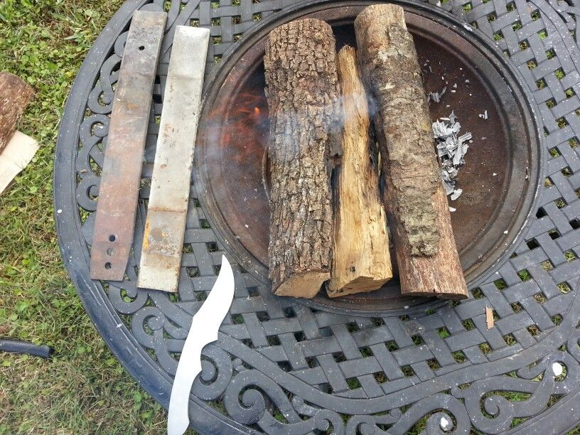 Heating things up to turn leaf springs into custom knives, the knife pictured was made from this same process