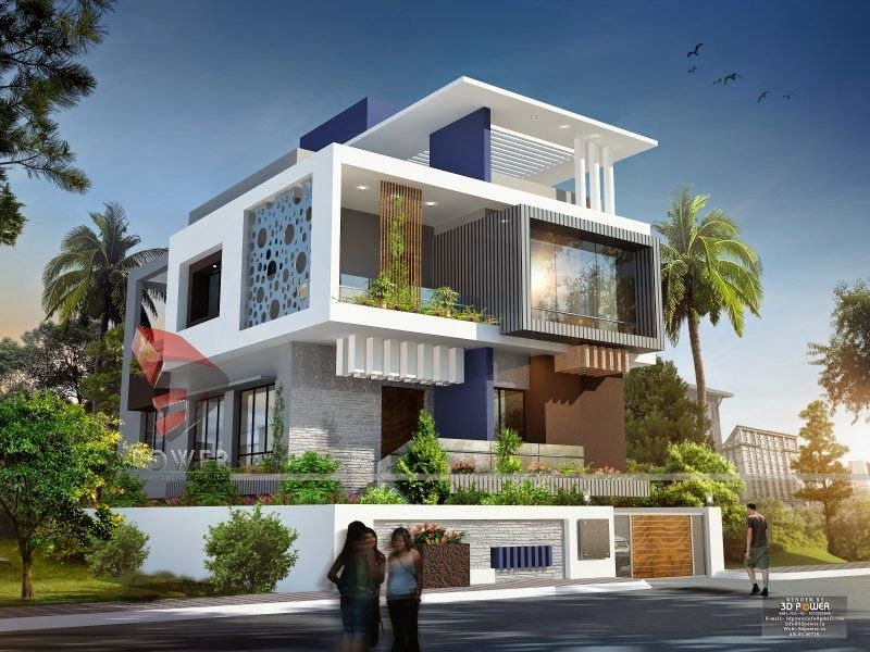 Front exterior design of indian bungalow 3d modern and for Small bungalow design india