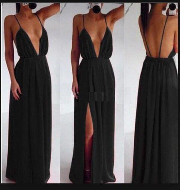 V-Neck Spaghetti Strap Backless Dress