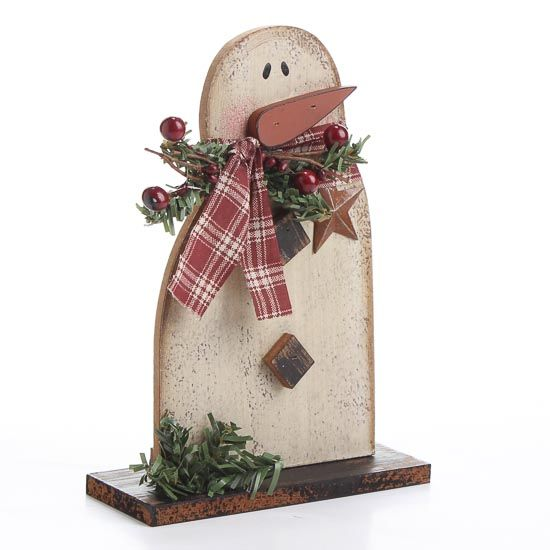 Primitive+Snowman+Christmas+Ornaments | ... and Distressed Wood Snowman - Christmas and Holiday - Primitive Decor