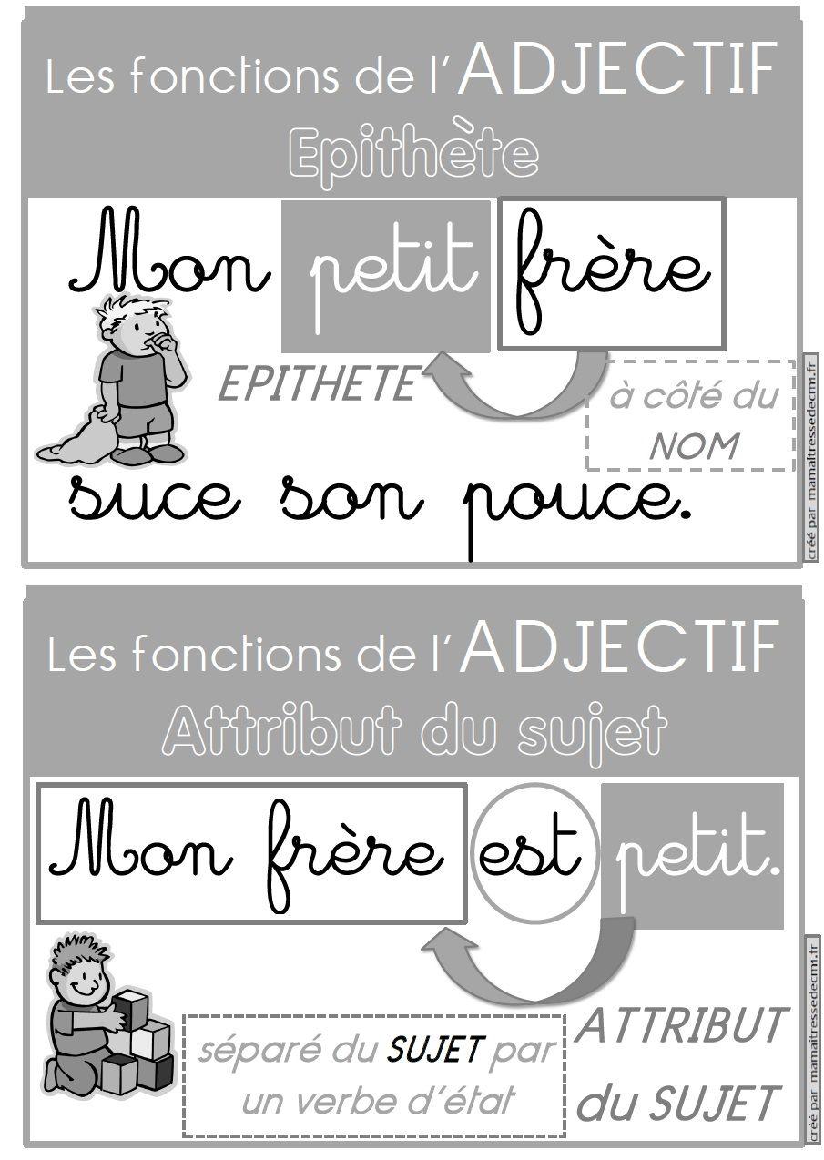 Les fonctions de l'adjectif qualificatif (épithète ou attribut du sujet) : affiches et exercices ...