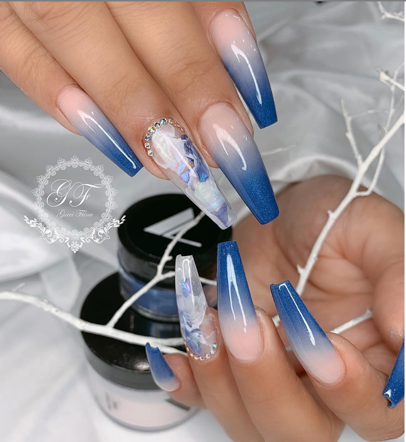 50 Attractive Acrylic Nail Art Designs Trends Ideas 2019 Coffin Nails Stiletto Nails Royal Blue Nails Blue Nail Designs Light Blue Nails Both these nails are long and the tips are narrow.