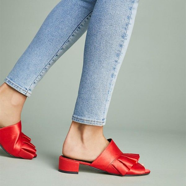 77f6677ae68 Women s Red Ruffle Mule Peep Toe Chunky Heels Sandals for Date
