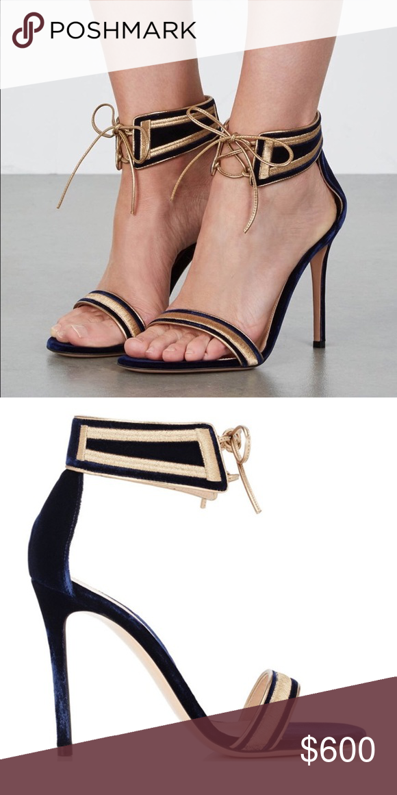 2fb3ce249815 Gianvito Rossi Augusta sandals navy gold suede 6 New without box Gianvito  Rossi navy blue velvet