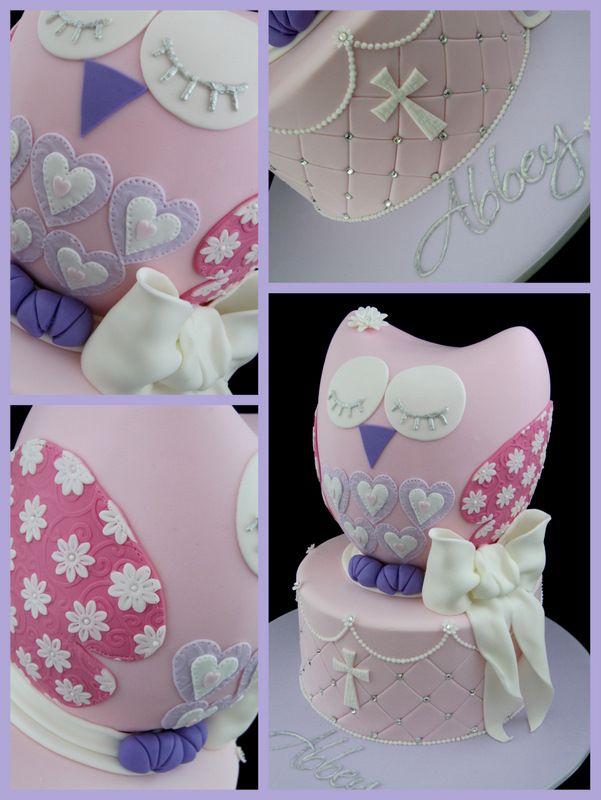 owl cake for girls christening