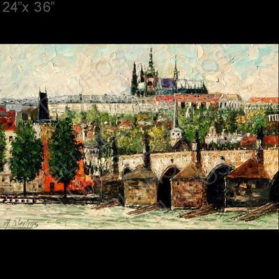 Prague City Charles Bridge Palette Knife Original Art Oil Painting Andre Dluhos | eBay