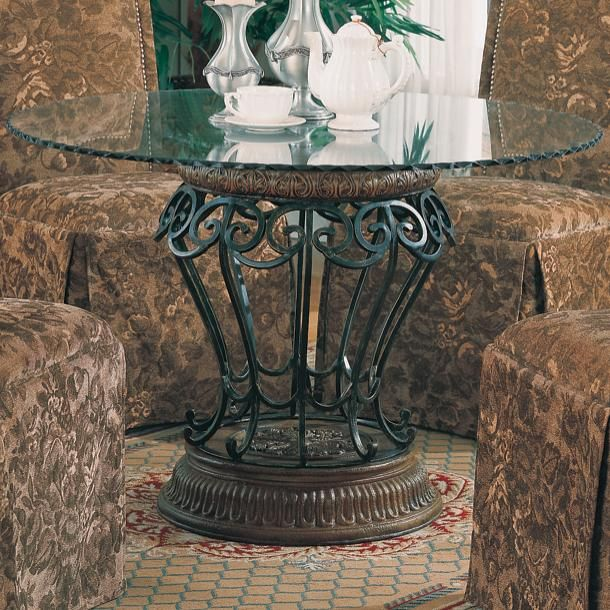 Slauson Round Glass Rippled Edge Table Top With Metal And Poly Base By  Coaster   Nassau