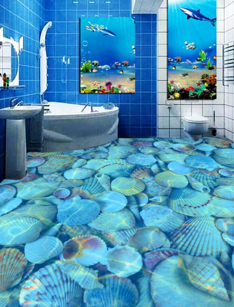 3d Shell Pool F589 Floor Wallpaper Murals Self Adhesive Etsy In 2020 Unique Bathroom Tiles Floor Murals Bathroom Tile Designs