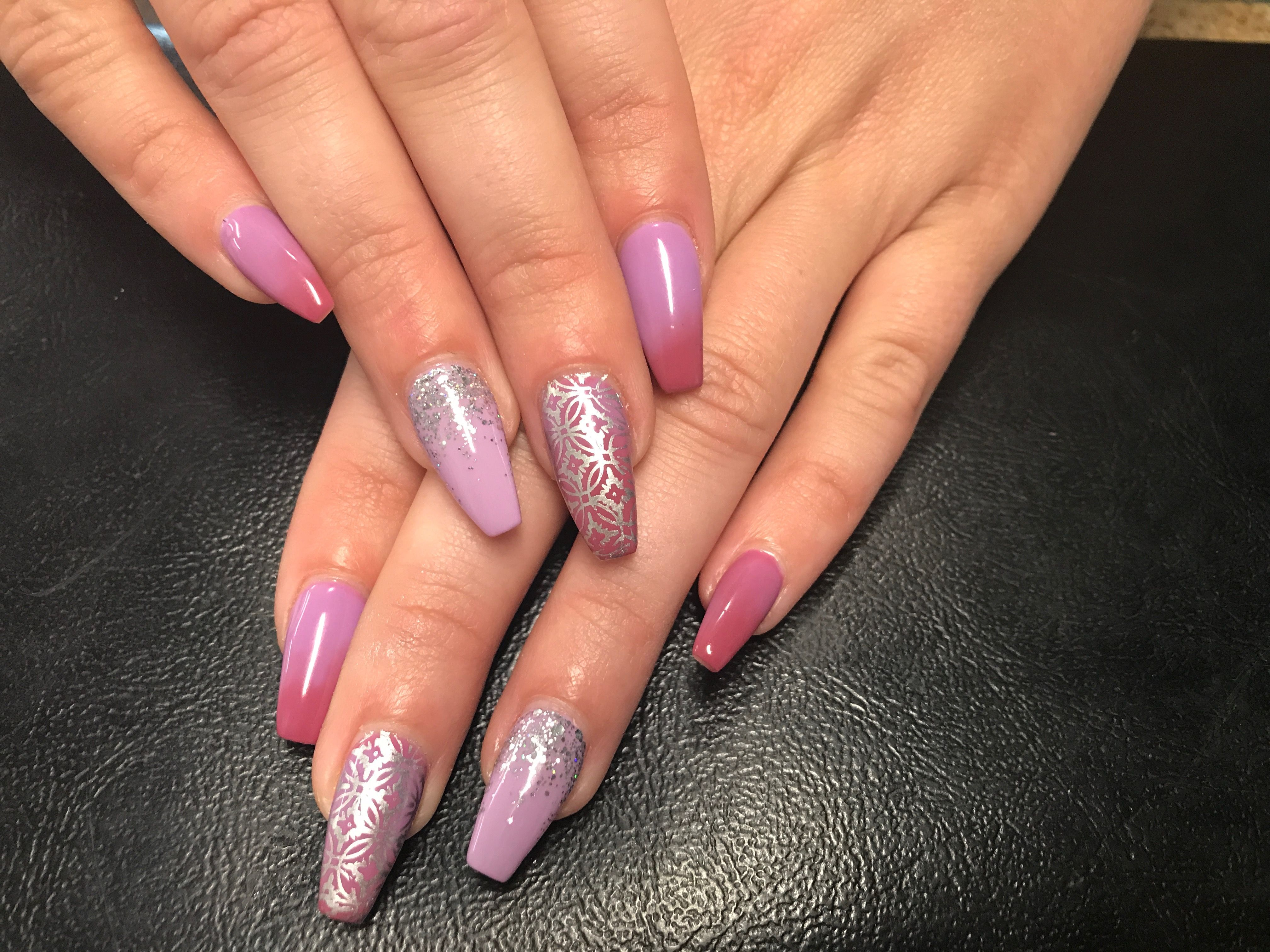 Temperature Changing Gel Polish Coffin Acrylic Nails Pink Purple Silver