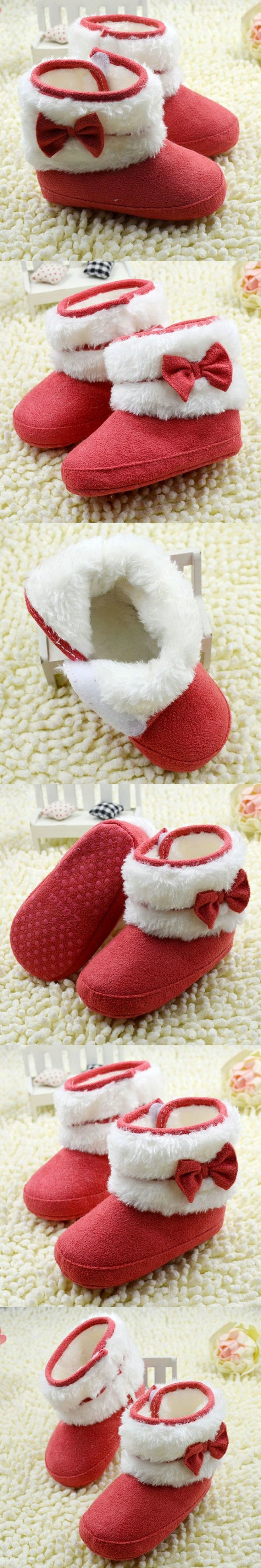Cute Newborn Infant Baby Girl Bowknot Winter Boots Fleece Soft Crib