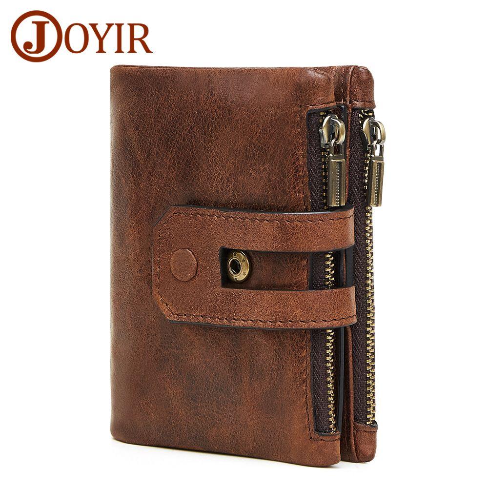 JOYIR Wallet Men Leather Genuine Vintage Coin Purse Zipper Hasp Men Wallets  Small Perse Solid RFID Card Holder Carteira Hombre e125c6b0f23c