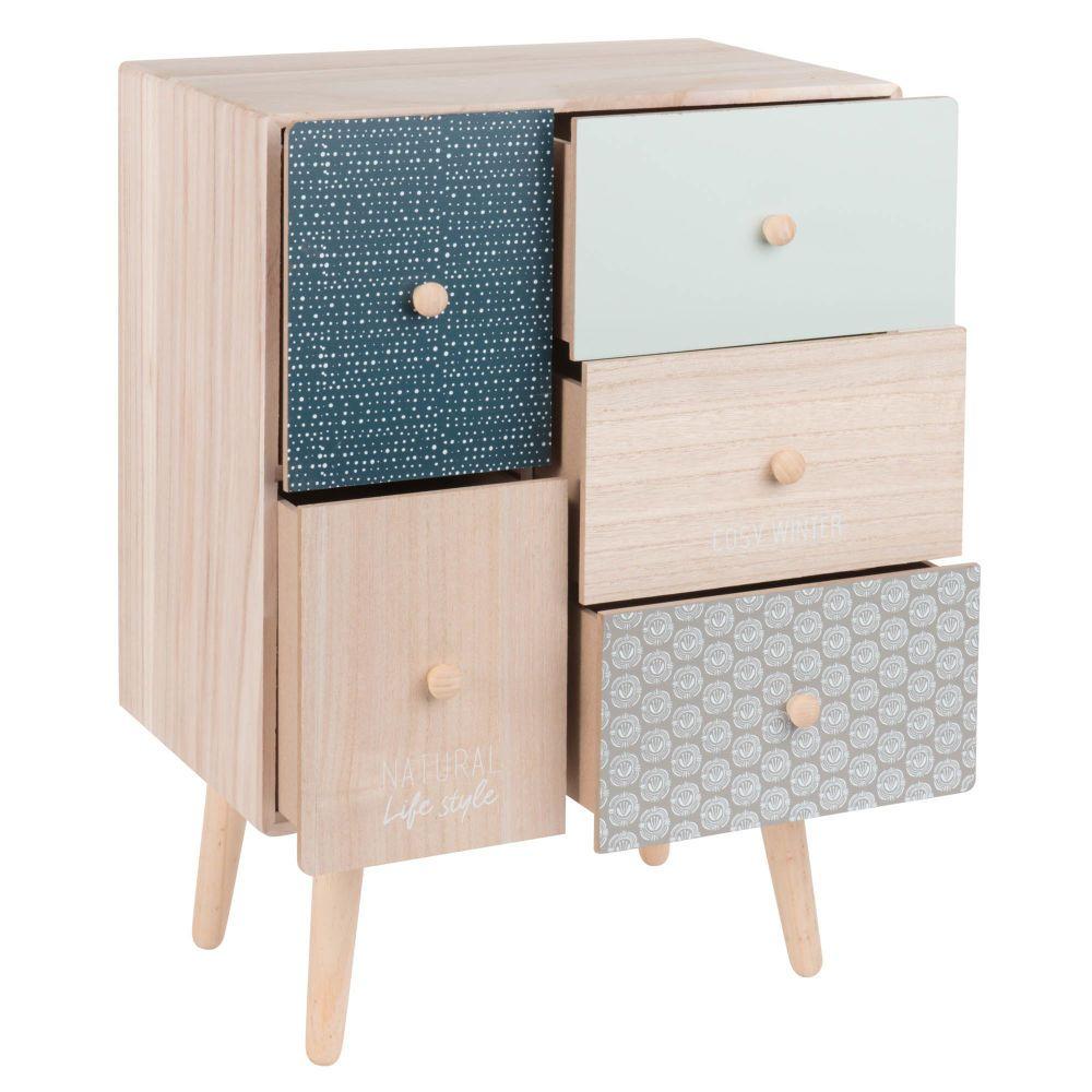 petit meuble de rangement 5 tiroirs a motifs maisons du monde