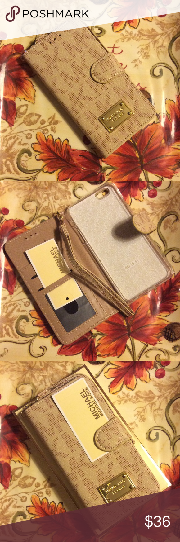 Michael kors iPhone 6s Plus wallet case NEW with box and tag. Michael kors iPhone 6 Plus and 6s Plus Wallet case. Beige color Michael Kors Accessories Phone Cases