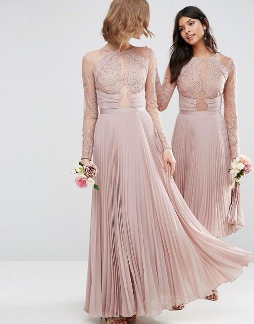 73f9238e928c WEDDING Pretty Lace Eyelash Pleated Maxi Dress