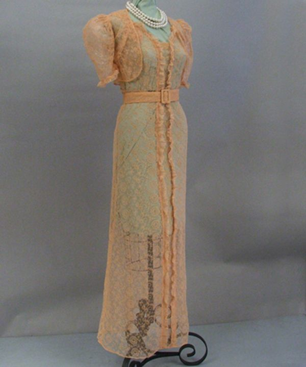 Vintage 30s Floral Embroidered Pink Lace Gown