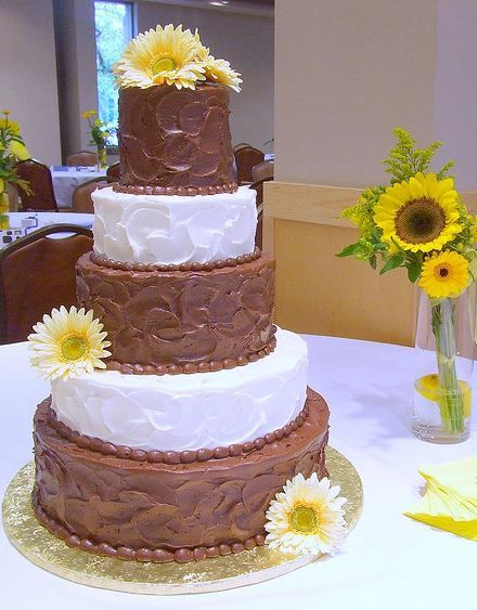 Five Tier Chocolate And White Butter Cream Wedding Cake With SunflowersJPG