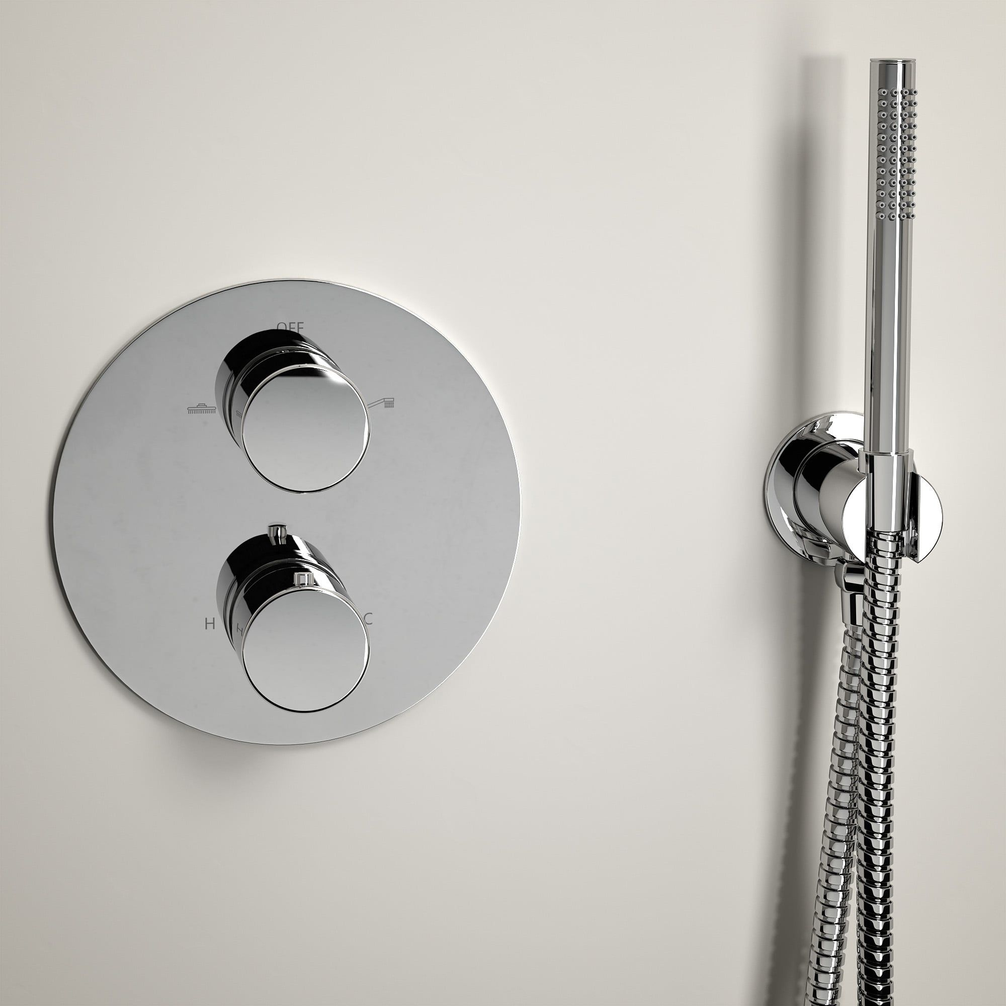 lusso luxe shower set with thermostatic valve and hand held shower