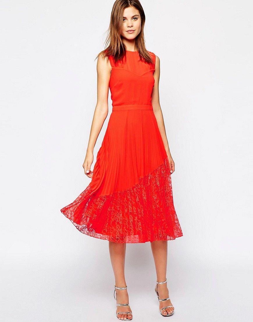 Lace panelled midi dress warehouse