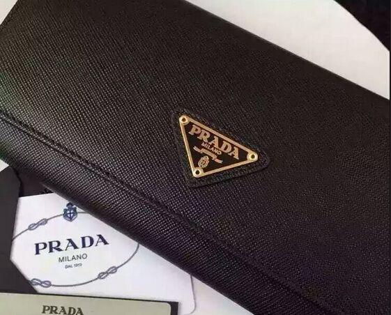 772eceb0a23e PRADA Saffiano leather flap wallet with enamel triangle logo BLACK Prada  Wallet