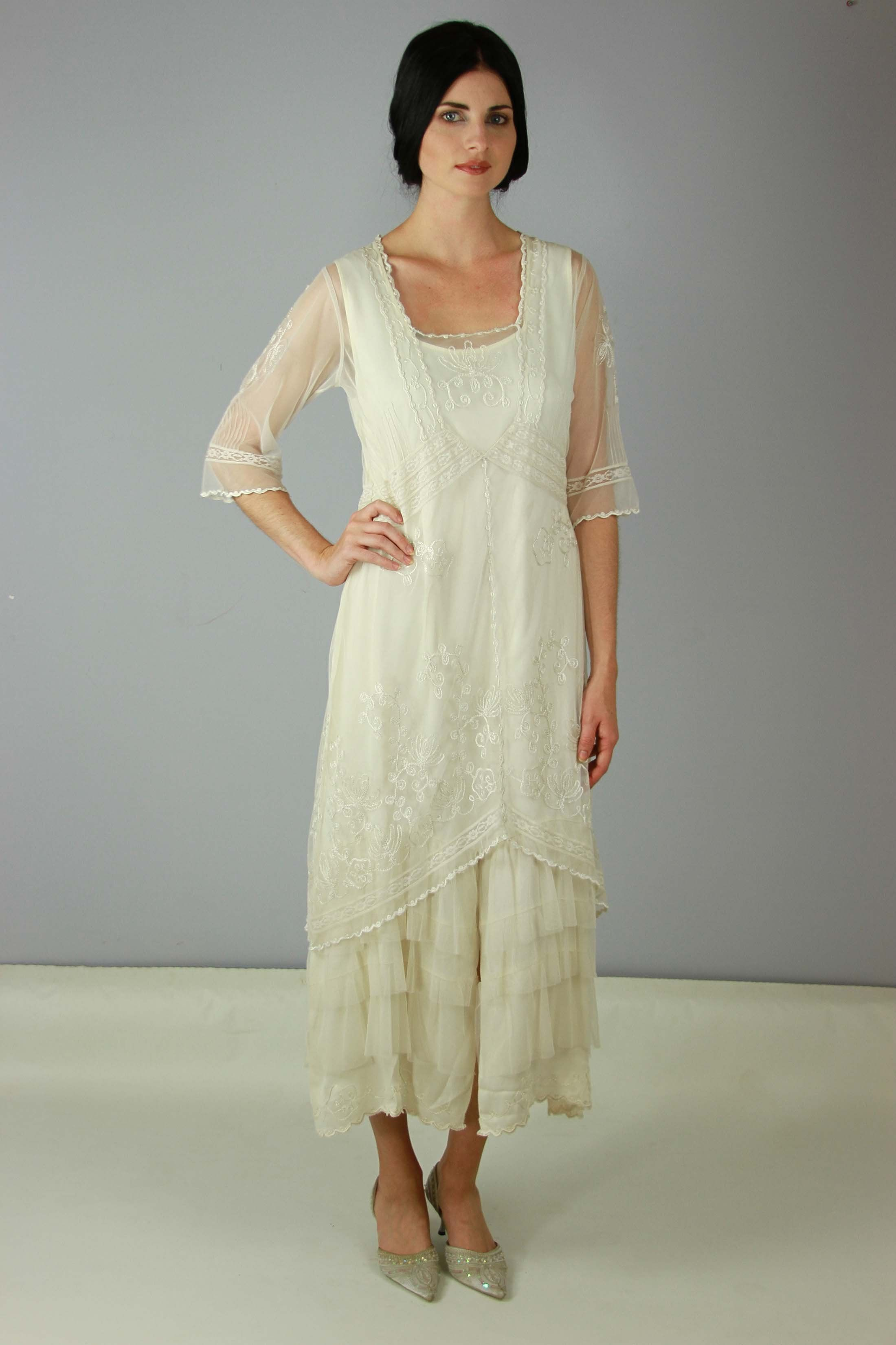 f6faf3113c9 1920s Plus Size Wedding or Tea Dress  Titanic Tea Party Dress in Ivory by  Nataya  229.00 AT vintagedancer.com