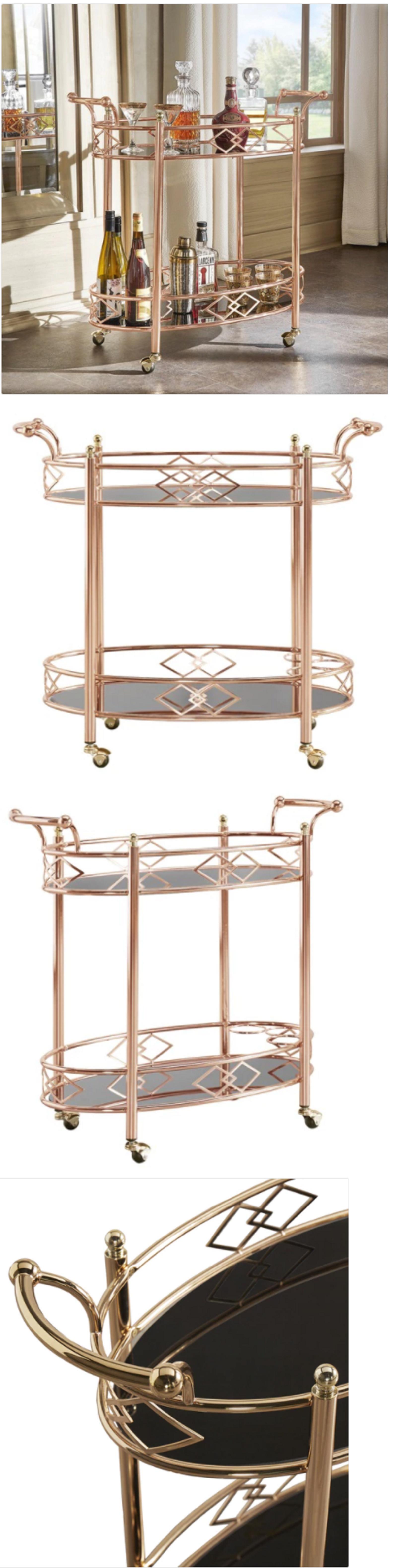 Kitchen Islands Kitchen Carts 115753: Gold Metal Mobile Bar Cart ...
