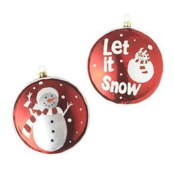 RAZ Imports - Red and White Let it Snow Glass Disc Ornaments 4""