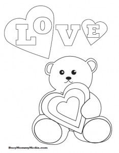Really cute Valentine's Day printable coloring page