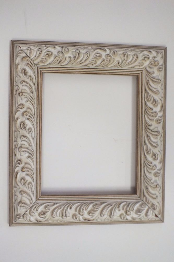 8 X 10 Off White Wash Ornate Picture Frame Paisley Ornate