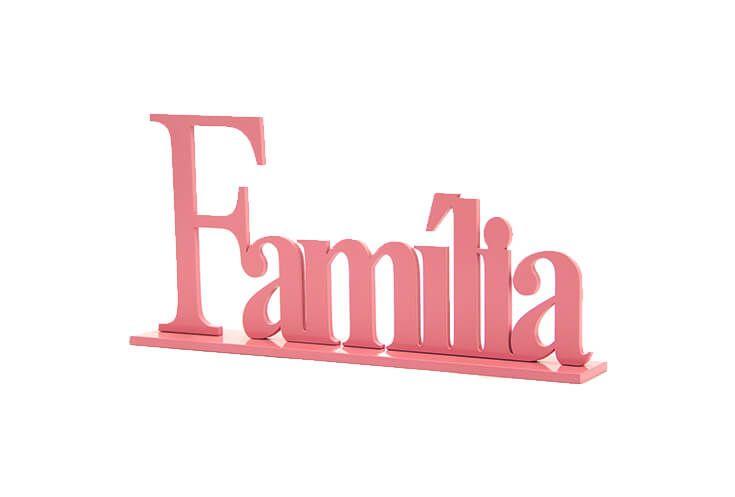 Adorno Palavra Família 33 cm Rosa Antigo Brilho | Geton Concept | Movelaria