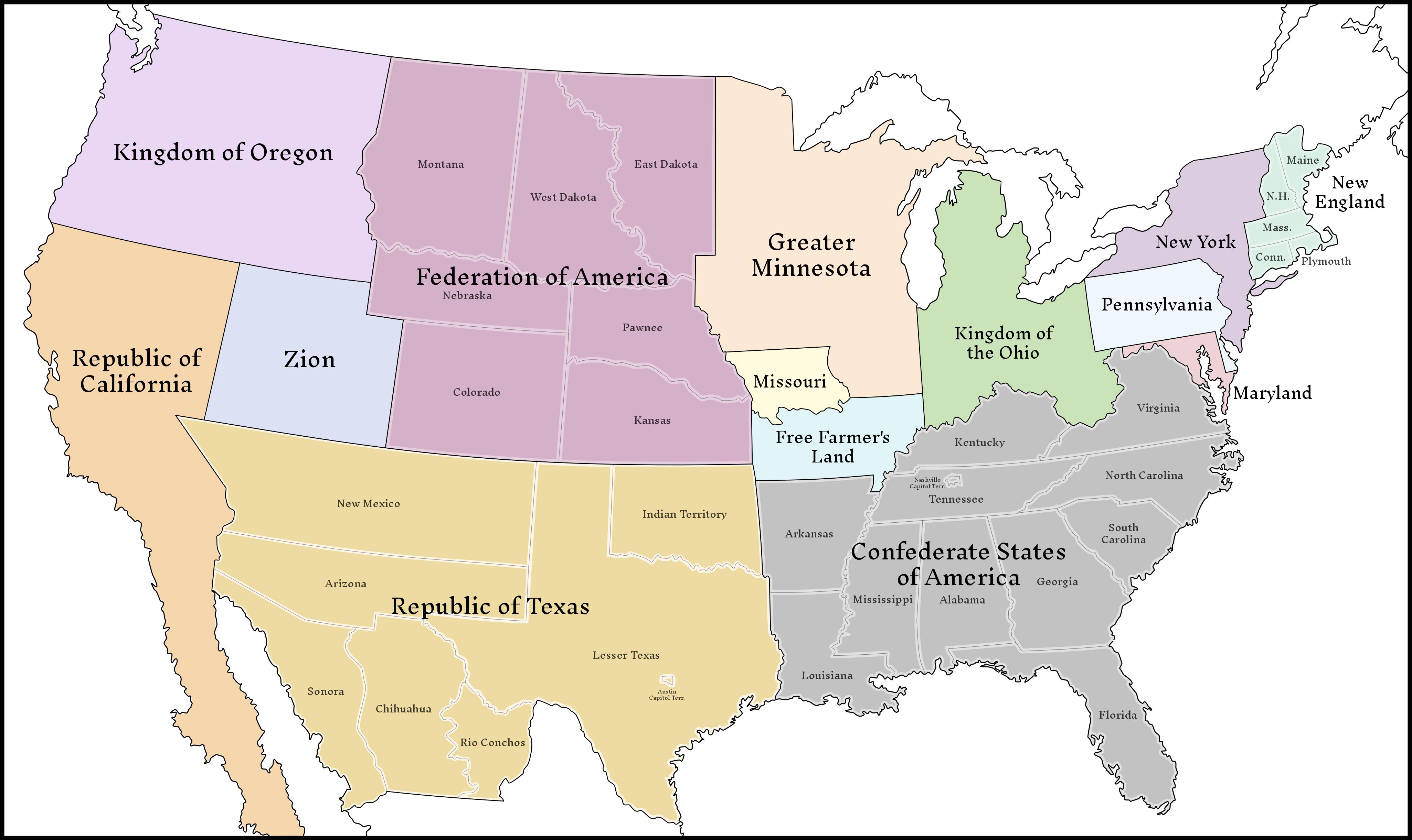 Classic Balkanized Us Map 59493 By Upvoteanthology Uchron City - Alternate-us-map