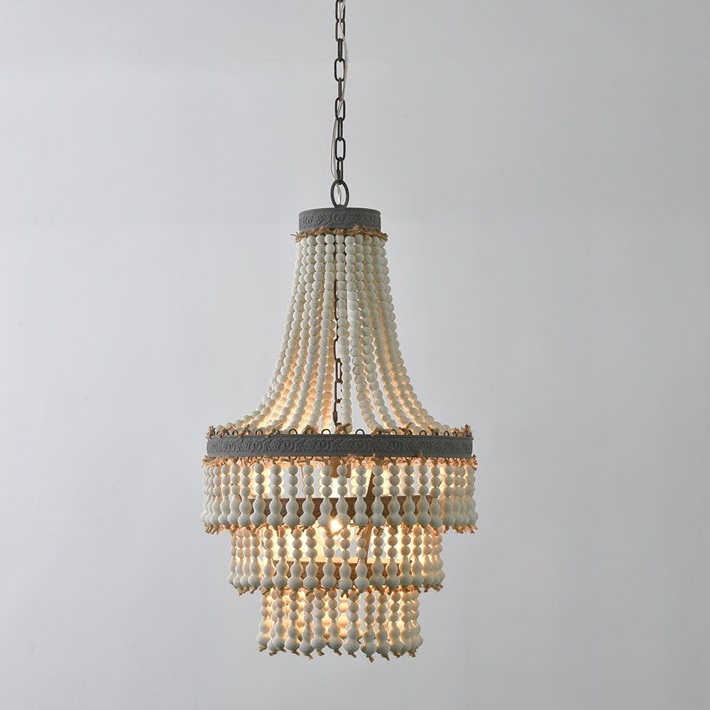 Farmhouse French Country 1 Light Distressed White Wood Beaded Pendant Light Metal In Brown Ceiling Light Metal Pendant Light Copper Pendant Lights Ceiling Lights