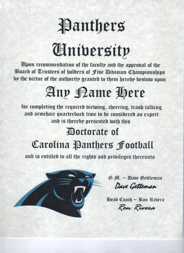 Carolina Panthers Diploma Certificate Man Cave #Football Gift Office Bedroom U2026